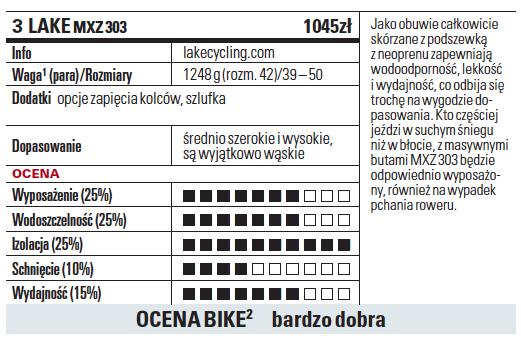 Jako obuwie całkowicie skórzane z podszewką z neoprenu zapewniają wodoodporność, lekkość i wydajność, co odbija się trochę na wygodzie dopasowania. Kto częściej jeździ w suchym śniegu niż w błocie, z masywnymi butami MXZ 303 będzie odpowiednio wyposażony, również na wypadek pchania roweru.